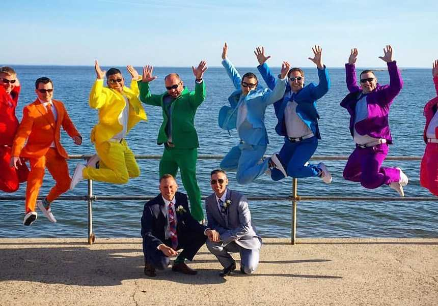 Grooms shocked by friends epic rainbow suits for their wedding day grooms shocked by friends epic rainbow suits for their wedding day love what matters junglespirit Gallery